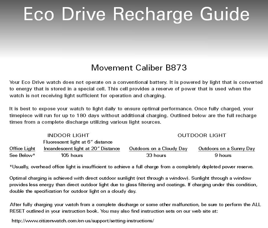 Eco Drive Re Charging Guide Citizen Watch Service